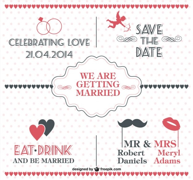 Black and red vintage wedding invitation with dots Free Vector