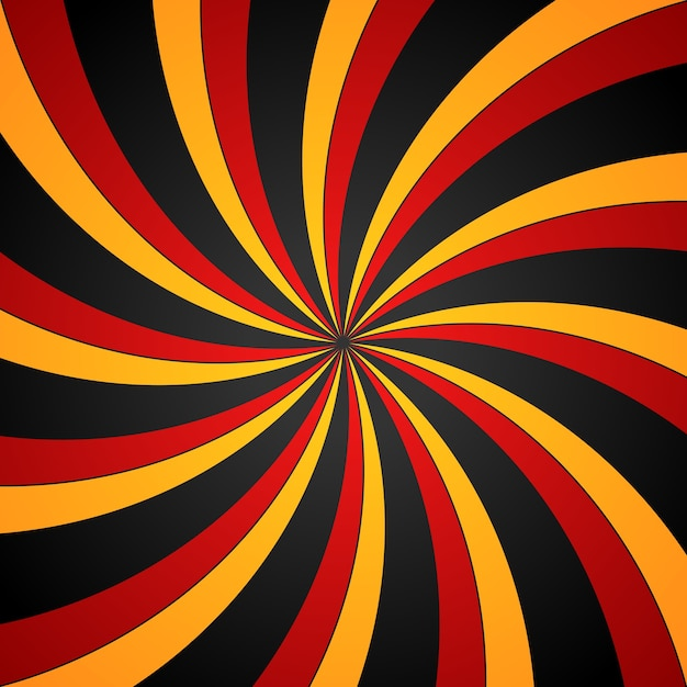 Black, red and yellow spiral swirl radial background. vortex and helix background. Premium Vector