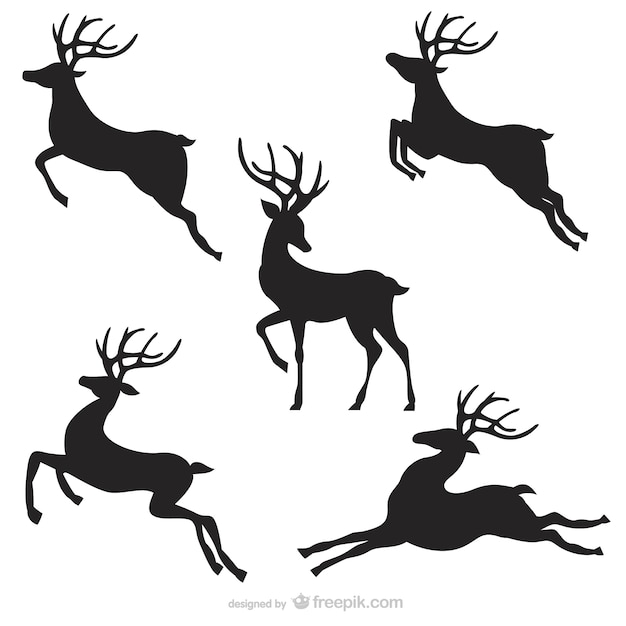 Black reindeer silhouettes pack Vector | Free Download