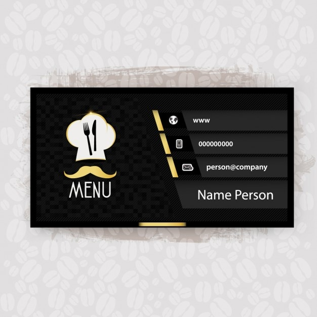 black restaurant business card vector free download