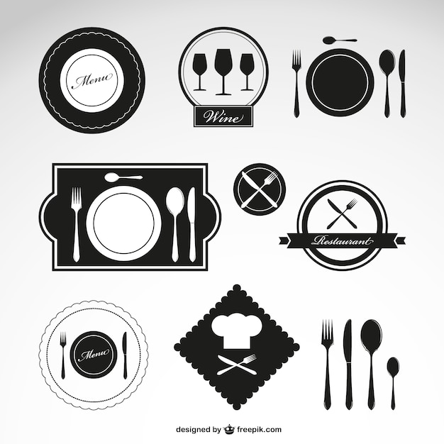 Black restaurant logos Free Vector