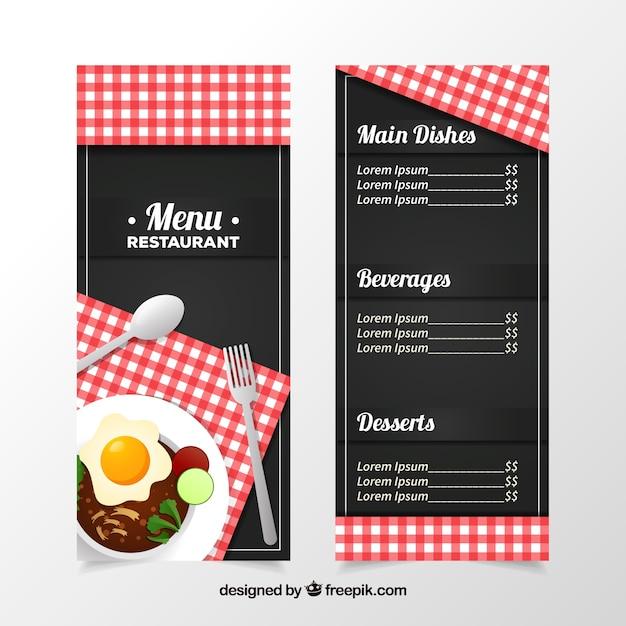 赤い食器棚を持つ黒いレストランメニュー 無料ベクター