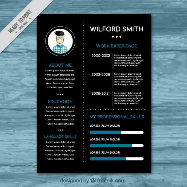 black resume template vector
