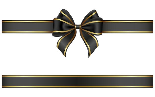 ゴールドの縁取りが施された黒いリボンとリボン Premiumベクター