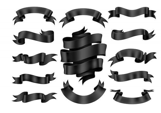 Black ribbon banner set Premium Vector