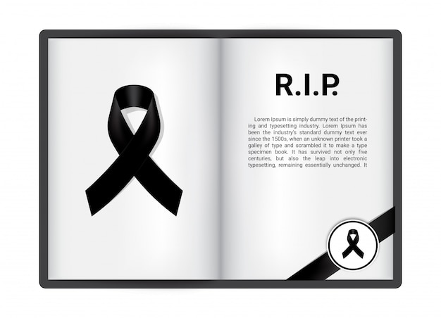 Black ribbon on blanck open book Premium Vector