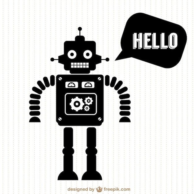 Black robot saying hello Free Vector