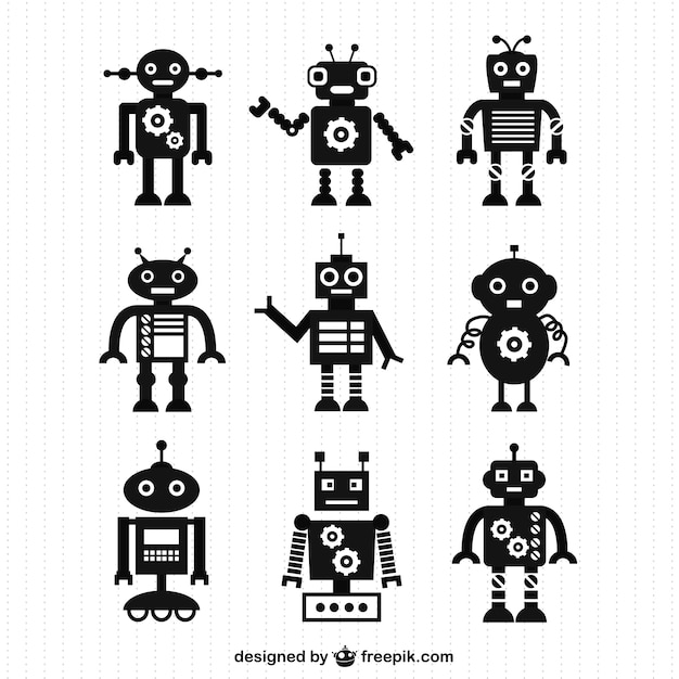 Black robot silhouettes Free Vector