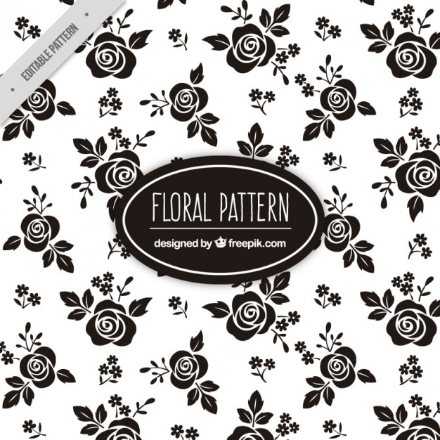 rose vintage and background floral patterns Black