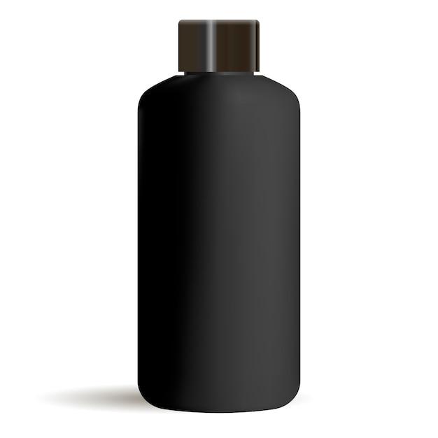 Black round cosmetic bottle mockup with black cap. cosmetics Premium Vector