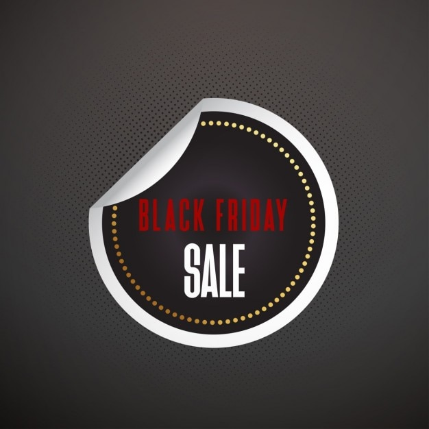 Black round sticker for black friday