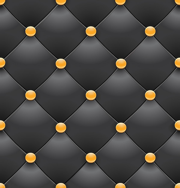 Black royal upholstery seamless background Premium Vector