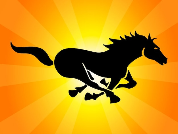 Black running horse logo