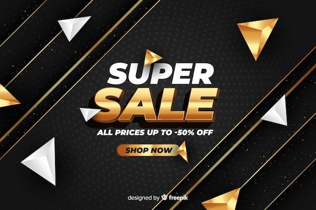 Black sales background with golden details Free Vector