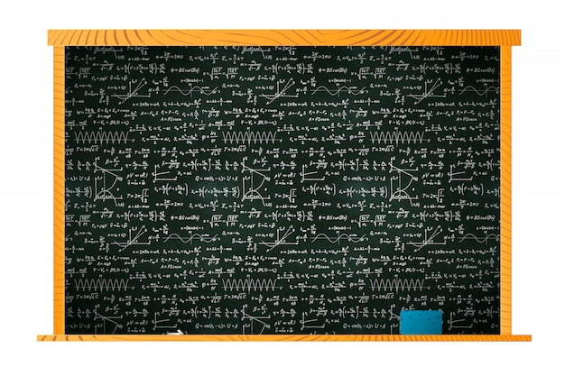 Black school blackboard in wooden frame with lots of chalk math calculations and sponge on shelf on white Premium Vector