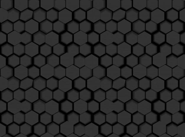 3 dの六角形と色合いの黒のシームレスな六角形パターンテクスチャ Premiumベクター