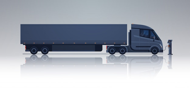 Black semi truck trailer charging at electic charger station horizontal banner Premium Vector