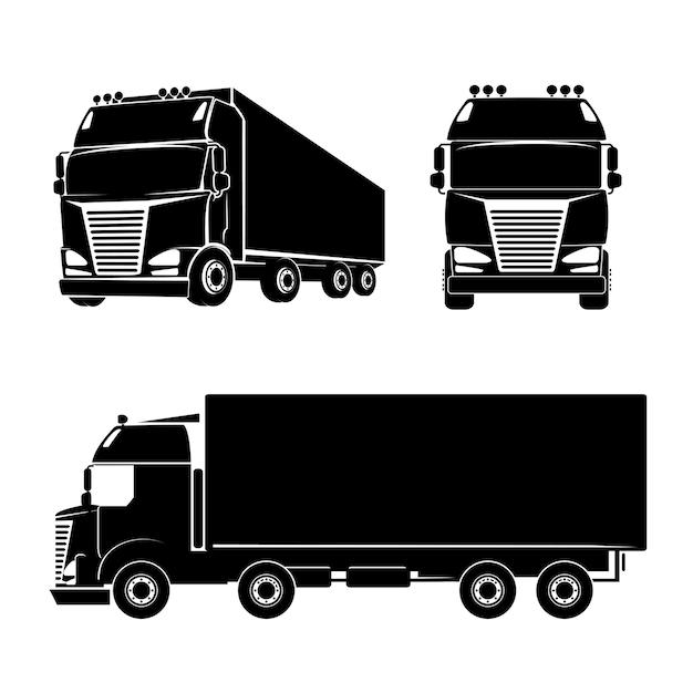 검은 실루엣 트럭 로고 아이콘입니다. 자동차 및화물 및 오두막. 벡터 일러스트 레이 션 무료 벡터