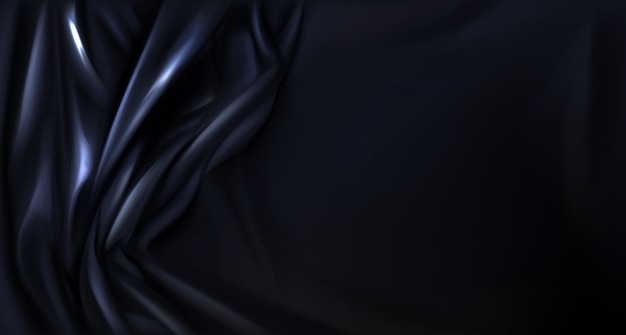 Black silk, latex folded cloth background, textile Free Vector