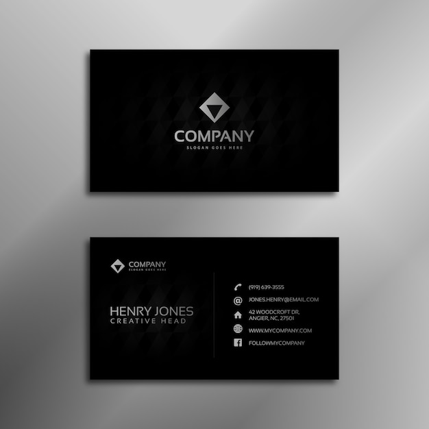 Black And Silver Business Card Vector Free Download