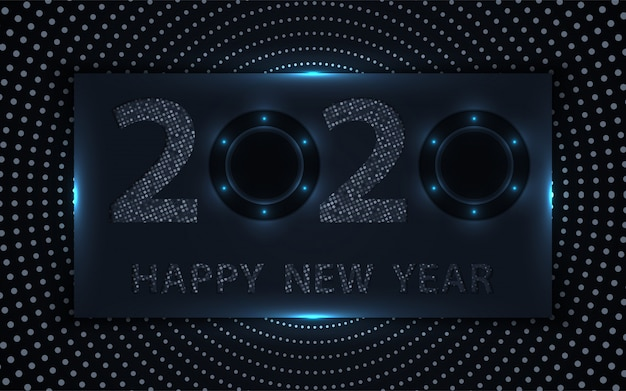 Black and silver happy new year background with glitters element Premium Vector