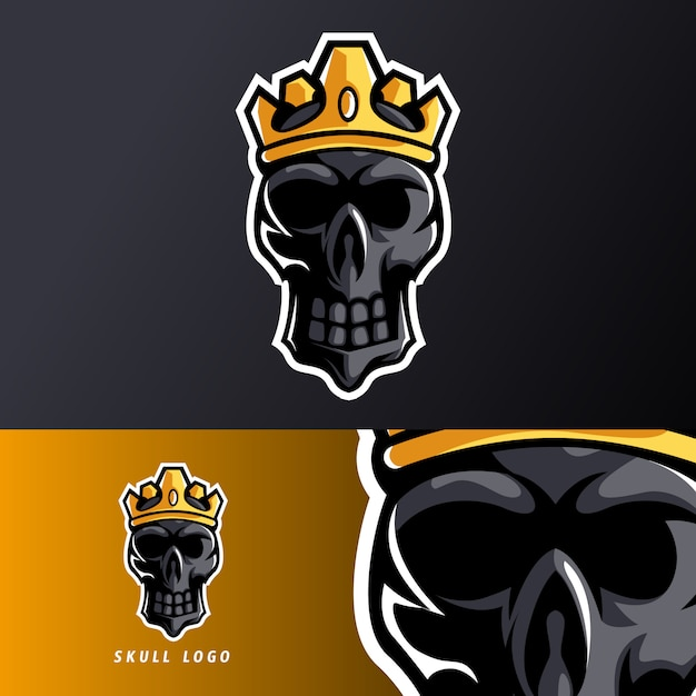 Black skull king crown mascot sport esport logo template for streamer team Premium Vector