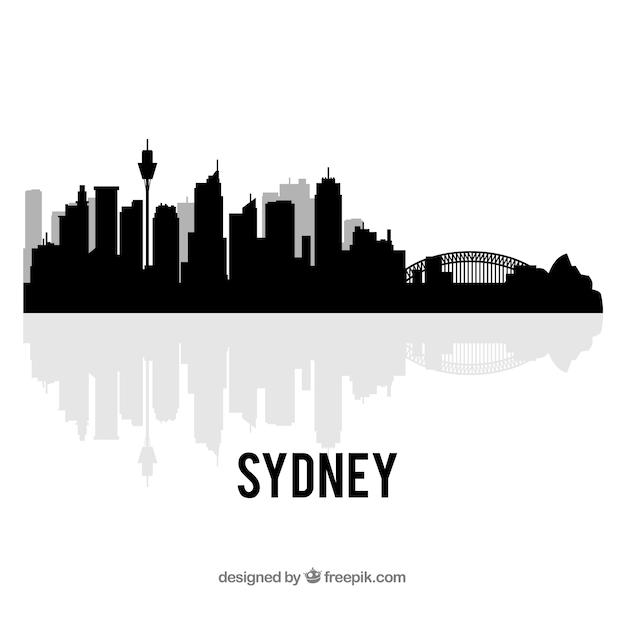Black skyline of sydney Free Vector
