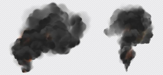 Black smoke or steam trails set, industrial smog Free Vector