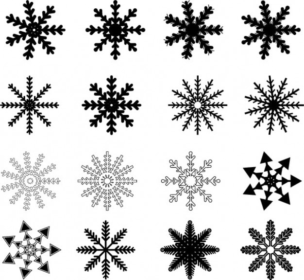 Black snowflakes drawn vector set Vector | Free Download