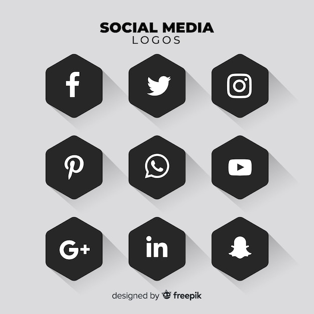 Black social media logo pack Free Vector