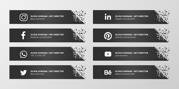 Black social media lower third collection Free Vector