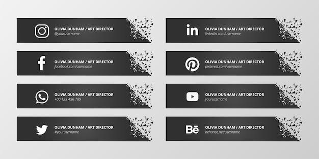 Black social media нижняя третья коллекция Бесплатные векторы