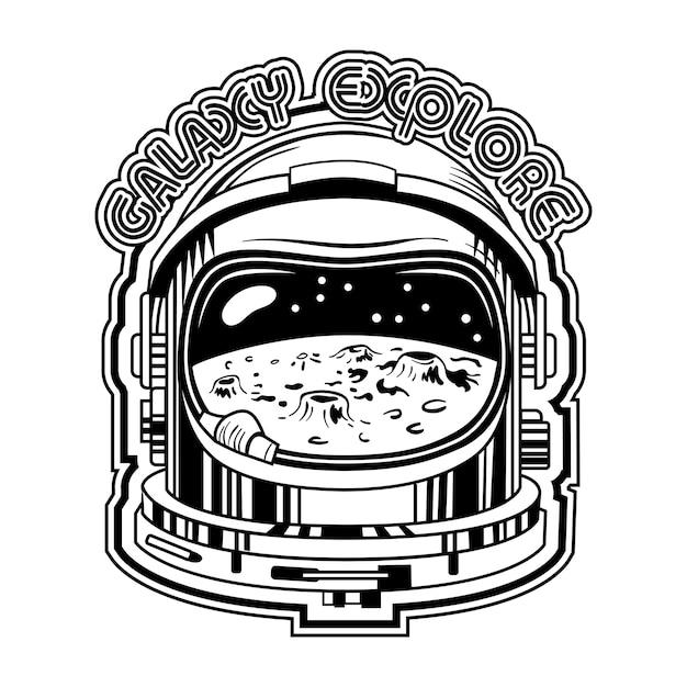 Черный шлем космонавта с луной в отражении векторные иллюстрации. винтажный защитный шлем для космонавтов Бесплатные векторы