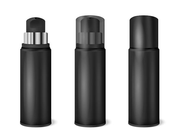 Реалистичный набор black spray cans Бесплатные векторы