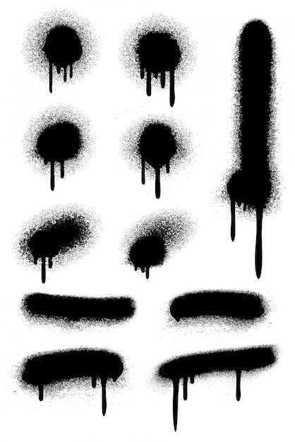 Black spray paint set Premium Vector