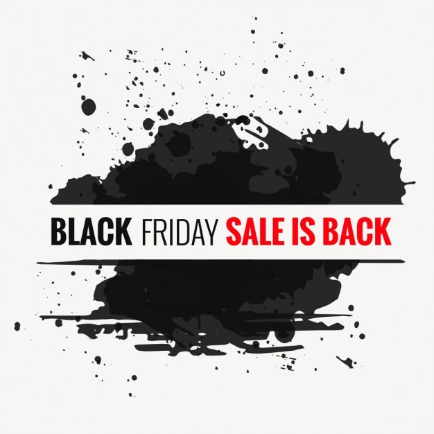 Black stains with black friday banner Free Vector