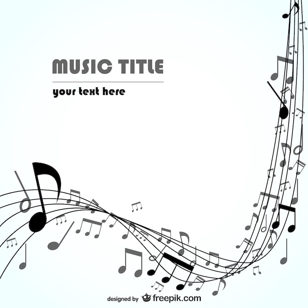Musical Wallpaper Borders: Black Stave With Music Notes Background Vector