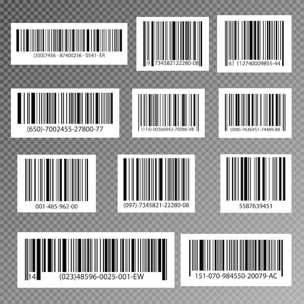 Black striped code for digital identification, realistic bar code icon. Premium Vector