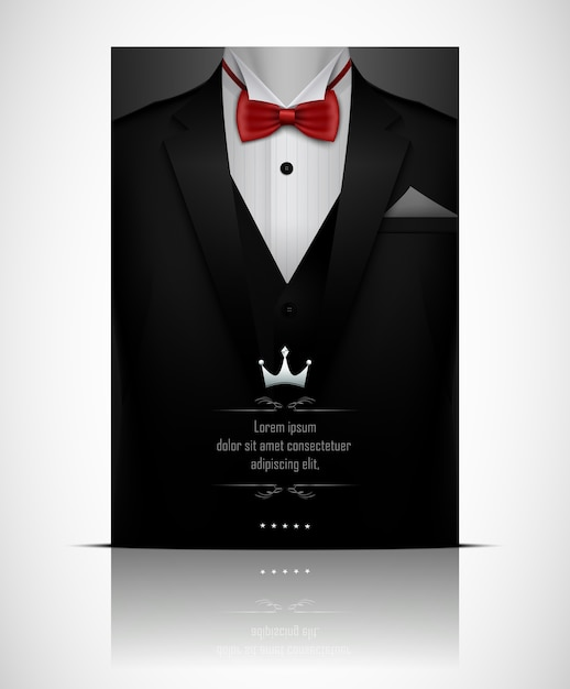 Black suit and tuxedo with red bow tie Premium Vector