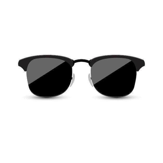Black sunglasses with dark glass on white background. Premium Vector