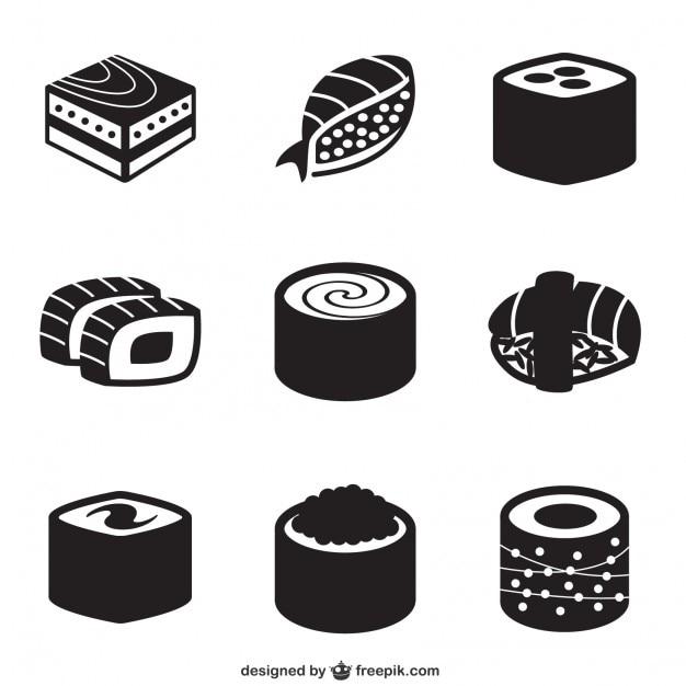 Black sushi icons Free Vector