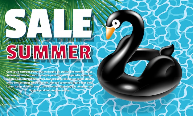 Black swan banner Premium Vector