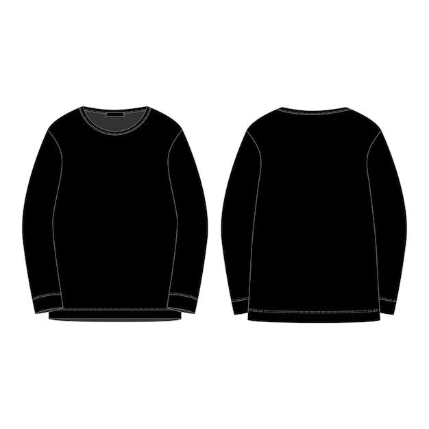 分離された黒のスウェットシャツが分離されました。前面および背面のテクニカルスケッチ。 Premiumベクター