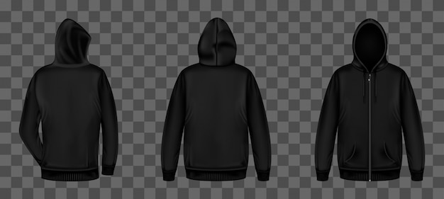 Black sweatshirt with zipper front and back view Free Vector