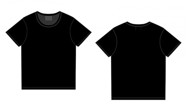 Black t-shirt design. front and back vector. technical sketch unisex t shirt Premium Vector
