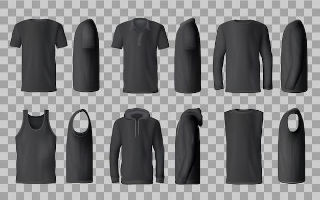 Черные шаблоны футболок, поло, толстовки, толстовки Premium векторы