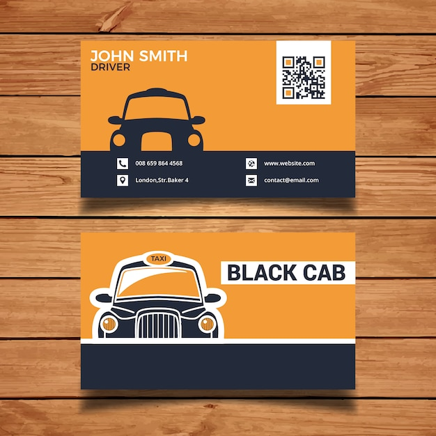 Black Taxi Business Card Vector Free Download