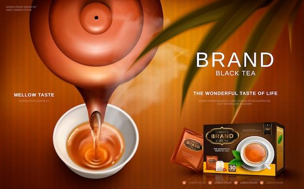 Реклама черного чая с традиционным чайником chese, наливающим горячий чай в чашку Premium векторы