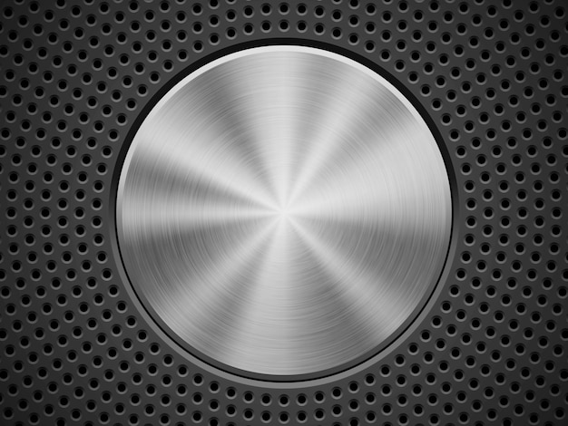 Technology Background With Circular Mesh: Black Technology Background With Circle Perforated, Bevels