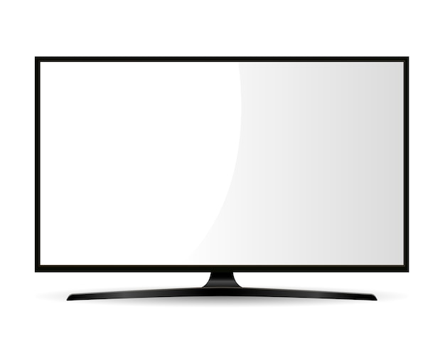 Black television with white screen. wide monitor. Premium Vector